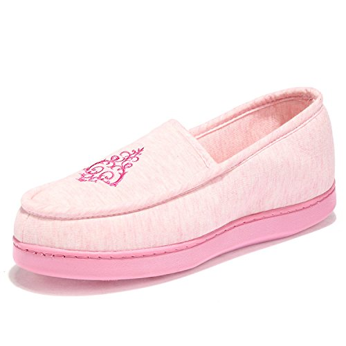 WQINSHOE Womens Cotton House Slippers Anti-Skid Sole Indoor Outdoor Loafers Shoes Pink qS5VH