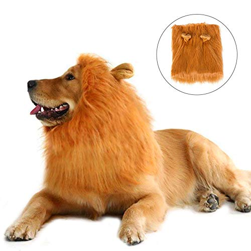 wodceeke Pet Halloween Decoration Lion Mane Wig with Ears Adjustable Washable Fancy Costume for Medium to Large Sized Dogs & Cats Prop ()
