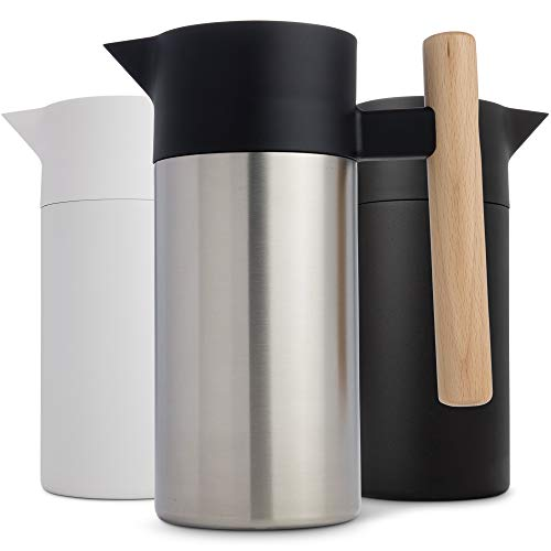- Stainless Steel Thermal Coffee Carafe  -  Double-Walled   Vacuum Insulated   Thermos and Beverage Pot  -  Compact, Travel-Size   Strainer   for  Tea,  Infused Drinks and Water  - 40 Fl oz, Silver