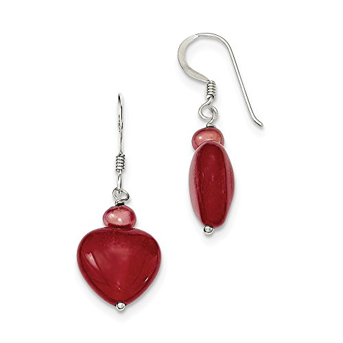 Sterling Silver Shepherd hook Red Dyed Jade Hearts Freshwater Cultured Pearl Earrings ()