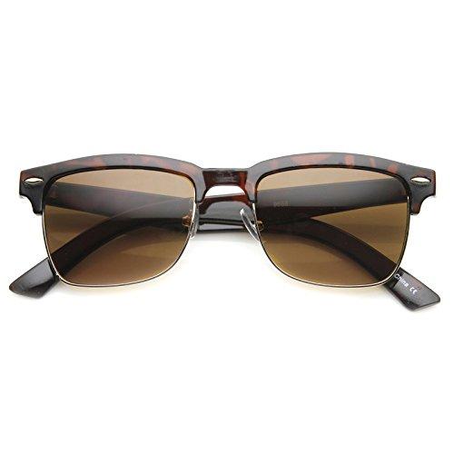 zeroUV - Classic Dapper Rectangular Half-Frame Horn Rimmed Sunglasses (Shiny Tortoise-Gold / - Tortoise Gold