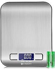 ETEKCITY Keukenweegschaal digitale weegschaal elektronische weegschaal 5 kg met groot LCD-display, ultradunne keukenweegschaal van roestvrij staal, vloeistofmeting, hoge precisie tot 1 g, Tara-functie