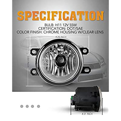 AUTOFREE Fog Light for TOYOTA 09-16 Corolla/08-10 Highlander/09-12 Venza/07-12 Yaris/Lexus 2010 RX350 / 08-11 LX570 with Bulbs H11 12V55W- 1 Pair (Clear Lens): Automotive