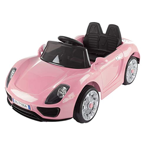 - Lil' Rider Ride on Sports Car - Motorized Electric Rechargeable Battery Powered Toy with Remote Control, MP3 & USB, Lights & Sound (Pink)