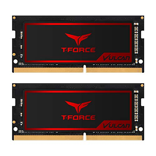TEAMGROUP T-Force Vulcan SO-DIMM 32GB Kit (2 x 16GB) 2666MHz (PC4-21300) CL18 Laptop Gaming PC Memory Module Ram Upgrade 260-Pin DDR4 SDRAM Super-Slim Graphene Copper-foil TLRD432G2666HC18FDC-S01