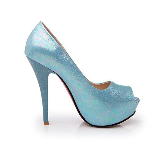 Amoonyfashion Mujeres Solid Pu Spikes Stilettos Peep Toe Pull On Sandals Blue