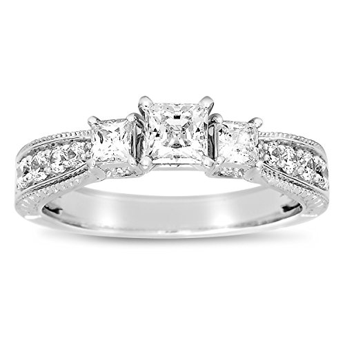 Half Carat Three Stone Princess Antique Engagement Ring in White Gold