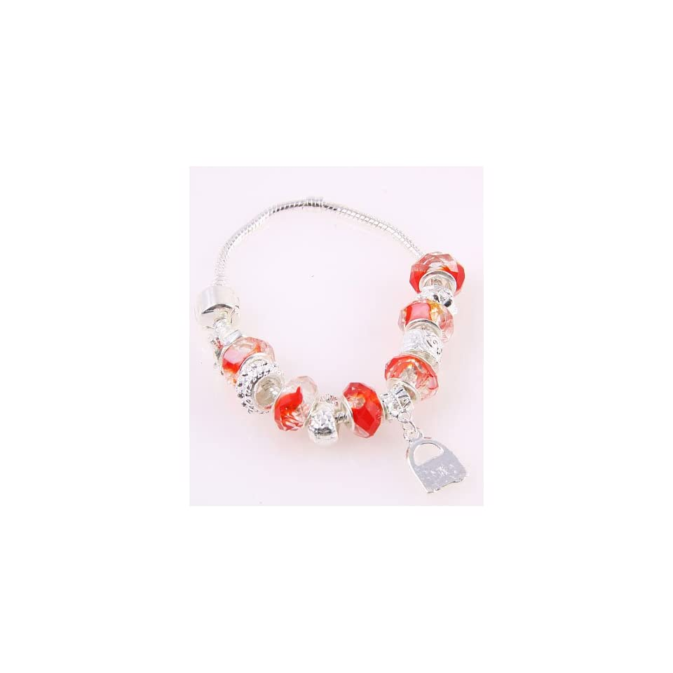 Fashion Jewelry Desinger Murano Glass Bead Bracelet with Pattern Red