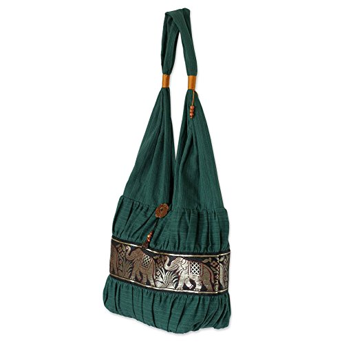 NOVICA Green Embroidered Elephant Cotton Shoulder Bag, Emerald Thai'