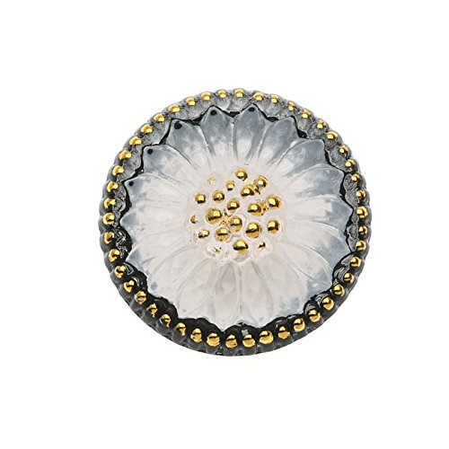 - Beadaholique Czech Glass Flat Back Button Cabochons, Sunburst Flower 18.5mm Round, 1 Piece, Black White and Gold