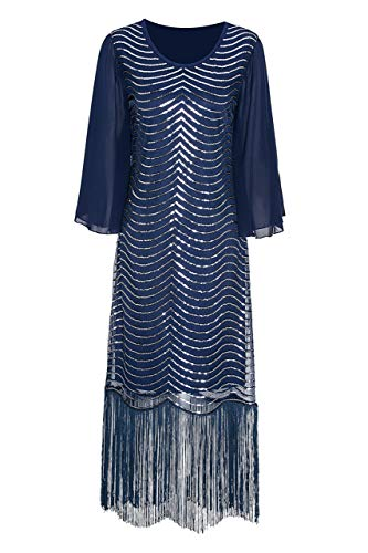 Metme Women's 1920s Retro Style Flapper Fringed Sequins Long Sleeve Prom Dress for Gatsby Party -