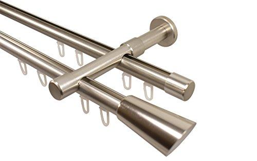 Edelstahl Optik Gardinenstange mit Innenlauf 2-läufig 20 mm Endstück Digo, 240 cm (2 x 120 cm)