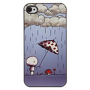 conseguir Warm Patrón Mushroom Umbrella PC caso duro con 3 Almuerzos Protectores HD de pantalla para iPhone 4/4S