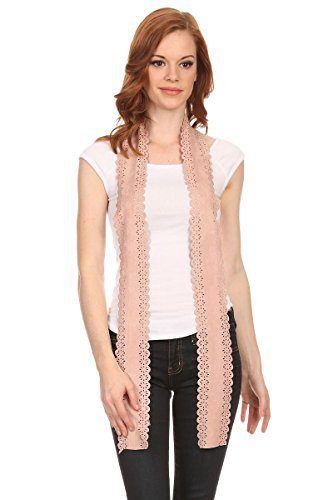 Long Sash Style Scarf (LL Womens Chic Long Skinny Thin Scarf Tie Sash Fringe Light Weight Many Styles (Pink Faux Suede))