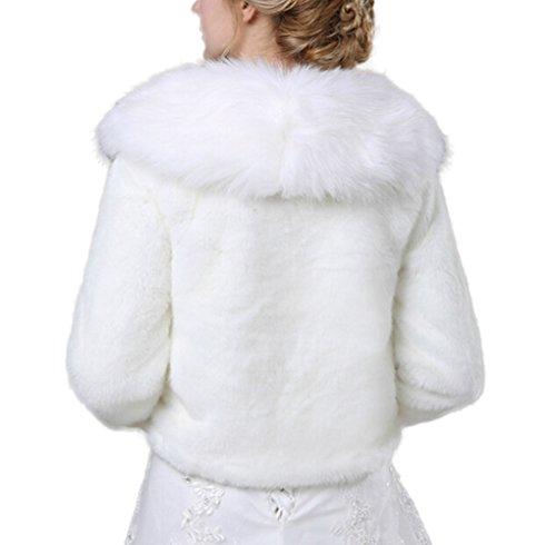 Icegrey Bolero Femme Demoiselle D'honneur Pour Mariee Mariage en Fourrure Artificielle Fausse Fourrure Haussement D'épaules Entièrement Doublé Soirée Blanc