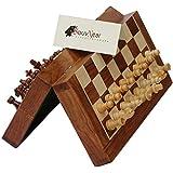 "Premium Chess Set - 10"" Magnetic Folding Board - Premium Wood Staunton Chess with Built in Storage"