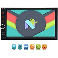 Newest 8-Core Android 7.1 Car Stereo with 7 Touchscreen In Dash Double Din Vehicle Radio Receiver GPS Navigation Entertainment System 2G 32G Multimedia Support Bluetooth/WIFI/OBD/DAB/DVR/Backup Cam