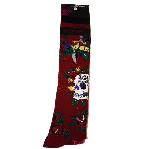 Ed Hardy Women Clothing - Ed Hardy Women's Skull & Rose Knee High Socks - Ruby