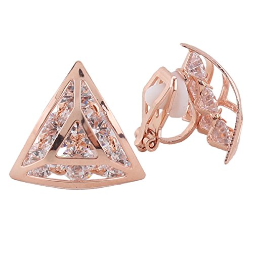 (Grace Jun 2017 New Design Copper Material AAA CZ Triangle Shape Clip on Earrings No Pierced for Women (rose gold plated))