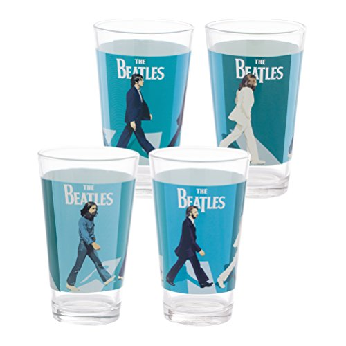 Vandor The Beatles Abbey Road 4 Piece 16 Ounce Glass Set (Beatles Glasses)