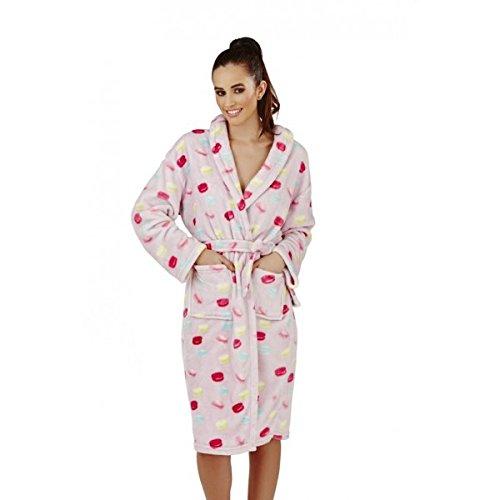 Robe de Chambre en Polaire Doux, Lilas avec Imprimé Macaron