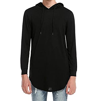 Willsa Men Fashion Pure Color Long Sleeve Casual Irregular Hem Hoodie Ripped T Shirt Tops