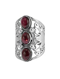 Handmade Jewelry Manufacturer 3 Stone Set Bazel Setting, January Birthstone Red Garnet, 925 Sterling Silver Ring Jaipur Rajasthan India