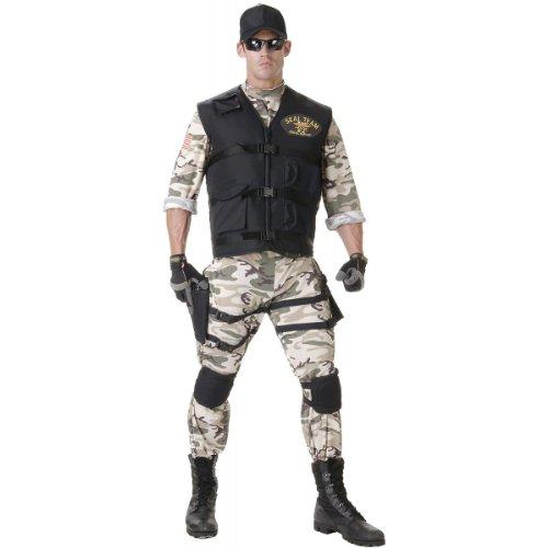 Underwraps Men's Seal Team Adult Standard, Camo/Black, Teen (Seal Costumes)