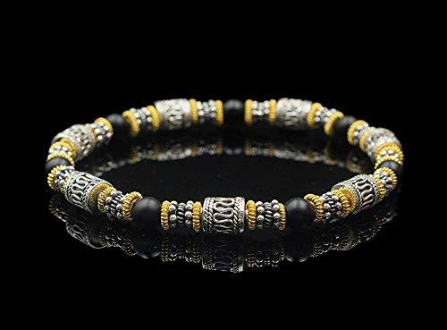 Sterling Silver, 22 Karat Gold, and Onyx Bracelet, Bali Beads -