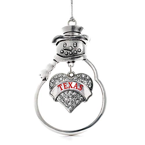Inspired Silver - Texas Charm Ornament - Silver Pave Heart Charm Snowman Ornament with Cubic Zirconia Jewelry]()