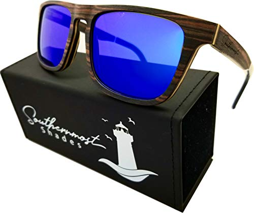 Natural Wood Sunglasses for Men - Wooden Frame - Genuine Polarized Lenses (Ebony Wood - Blue Mirror Lenses)