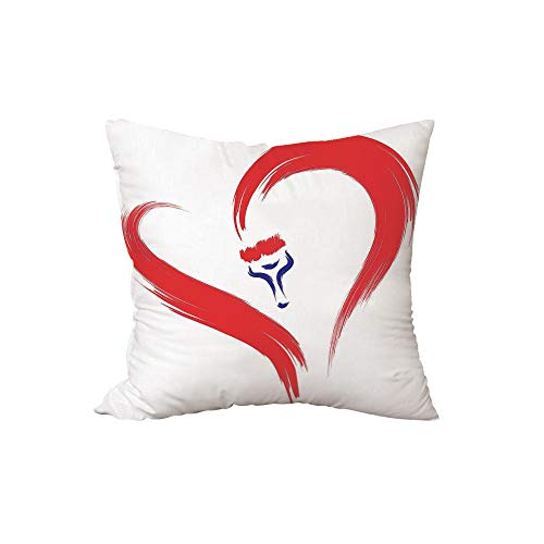 iPrint Polyester Throw Pillow Cushion,Love Decor,Brush Drawing of a Heart Symbol Mutual Special Emotions Positive Humanly Desire Graphic,Red Blue White,17.7x17.7Inches,for Sofa Bedroom Car Decorate ()
