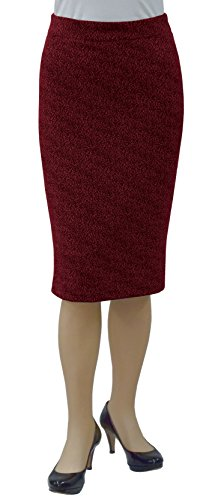Baby'O Women's Slim Fit Figure Hugging High Waist Stretch Knit Pencil Skirt, wine boucle, m by Baby'O Clothing Co.