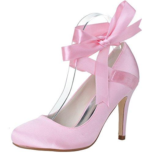 LOSLANDIFEN Womens Wedding Pumps Round Toe Satin Ribbons Ankle Strap High Heels Shoes Pink Z8dObbxR