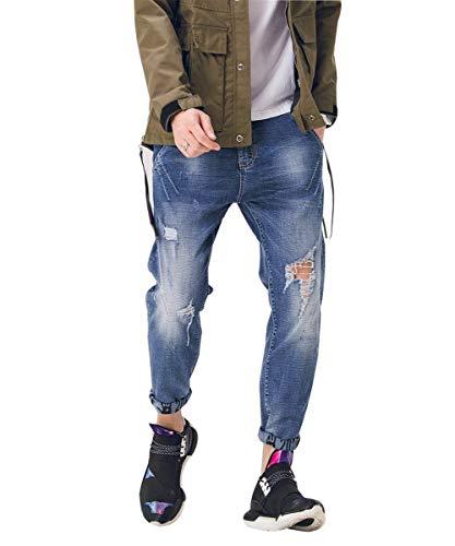 Grandes Blau4 Pantalones Battercake Mezclilla Cómodo Vintage Moda De Destruidos Ocio Los Hombres Zxqv6wCAx
