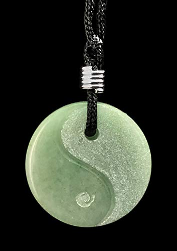 Yin Yang Gemstone Hand Carved Pendant Necklace Balance Meditation Zen Art Taiji Adventurine - Gemstone Yang
