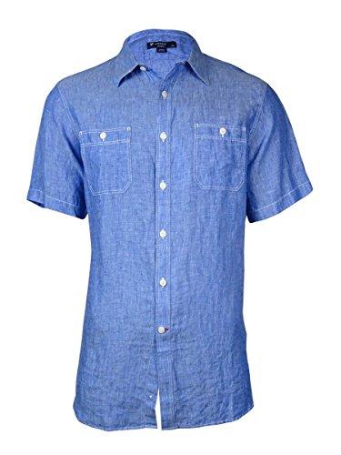 Cremieux Men's Solid Laundered Linen Shirt (L, Blue)
