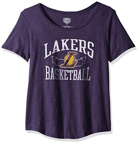 OTS NBA Los Angeles Lakers Female Slub Boyfriend Tee Distressed, Purple, X-Large