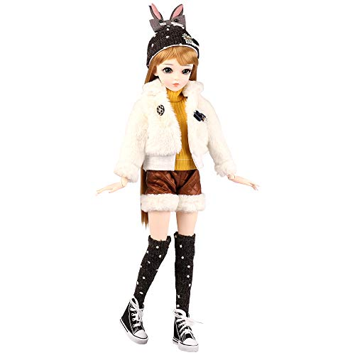 UCanaan BJD Doll, 1/3 SD Dolls 24 Inch 18 Ball Jointed Doll DIY Toys with Full Set Clothes Shoes Wig Makeup, Best Gift for Girls-LiBeika