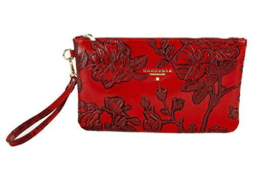 Cuoieria Fiorentina Italian Embossed Tooled Leather Pochette Handbag (Red)