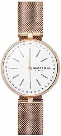 Skagen Women's Signatur T-Bar Quartz Watch with Stainless-Steel Strap, Rose Gold, 16 (Model: SKT1404