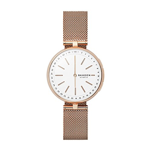- Skagen Women's Signatur T-Bar Quartz Watch with Stainless-Steel Strap, Rose Gold, 16 (Model: SKT1404