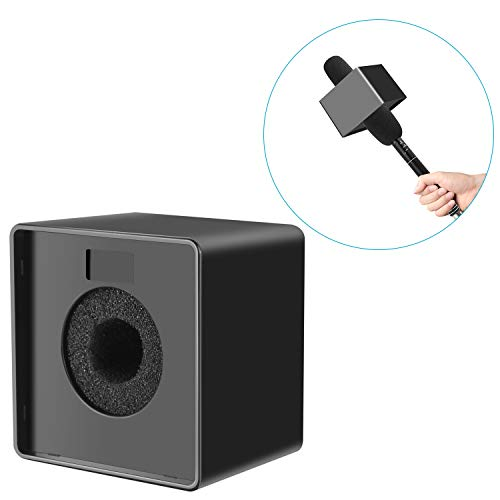 Neewer Portable Square Cube Shaped Interview Mic Microphone Flag Station Logo Max. 1.57 inches/4cm Hole, Black -
