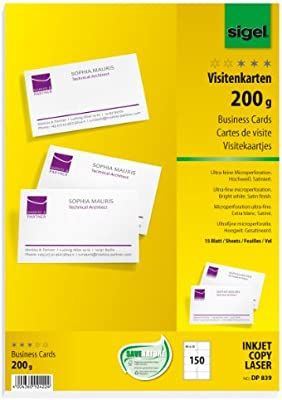 Sigel Dp839 Visitenkarten Hochweiß 150 Stück 15 Blatt 85x55 Mm Beidseitig Bedruckbar Und Satiniert 200 G Weitere Stückzahlen