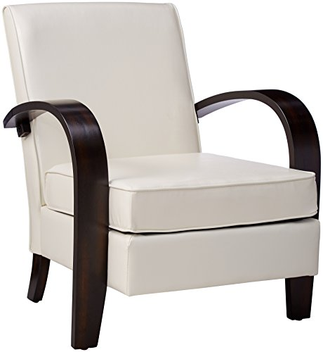 Roundhill Furniture Wonda Bonded Leather Accent Chair with Wood Arms, White