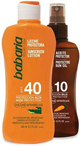 BABARIA pack leche protectora solar spf 40 + aceite protector 100 ...
