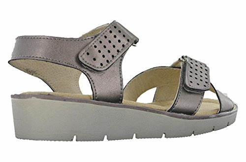 Cross Touch Leather 8 Womens Pewter Walk Open 3 UK Over Toe Sandals Cushion Fasten 8nYqfwxApn