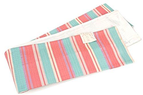 広く提案本土半幅帯 浴衣帯 浴衣用 小紋 夏着物 ピンク系 しじら織り 縞 ストライプ 半巾帯 細帯