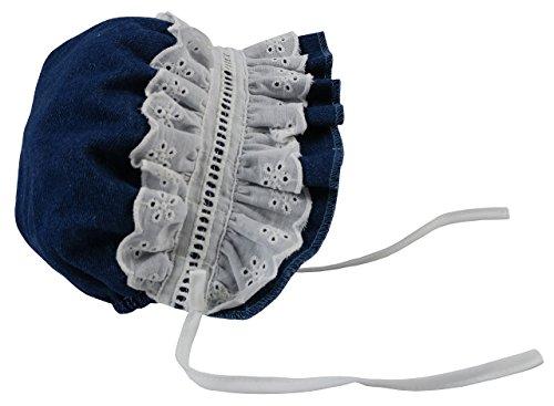 (N'Ice Caps Baby Girls Puffy Eyelet Bonnet with Elastic Back (6 Months), Denim)