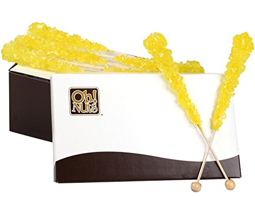 Rock Candy Crystal Sticks Yellow 12ct. - Lemon - Oh! Nuts